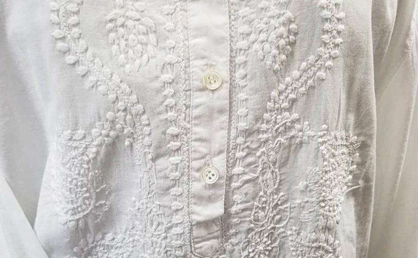 ショートクルタ(チカン刺繍)白・(L)